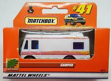 MATCHBOX CAMPER #41 WHITE with RED & YELLOW STRIPES 1:64 NEW in UNOPENED BOX