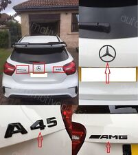 MERCEDES AMG Matte Black distintivi x 3 MERCEDES STAR + A45 + AMG Set di 3