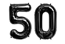 "Giant 40"" 50 Black Foil Number Balloons Photo Shoot 50th Birthday Float Helium"