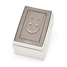 3-Pc Fossil Brand Rose Gold Tone Stainless Steel Earrings & Necklace Gift Set