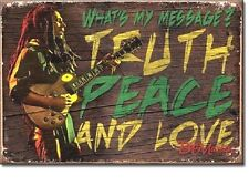 """Bob Marley My Message Truth Peace & Love 2"""" X 3"""" Miniature Sign Magnet"""