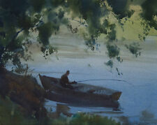 John Samuel Loxton 1903-1969 Original Watercolour Painting Figure Boat SFAA
