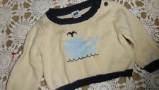 nwot Janie and Jack ivory whale sweater baby boy or girl 0 m 3 m free ship Usa
