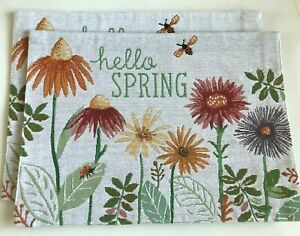 """LOT OF 2 Sonoma Life SPRING COTTAGE Tapestry Placemats 8""""x13"""" Multi $8.99x2 RARE"""