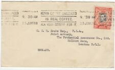 1938 Cover. Kenya to London. 20c King George VI.