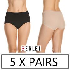 5 x PAIRS BERLEI NOTHING NATURALS FULL BRIEF Underwear Undies Briefs Jocks Black
