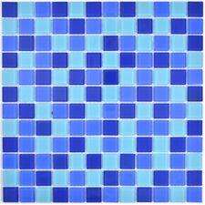 Mosaico Piastrella vetro traslucido cristallo blu piscina muro 63-0405 |1 foglio