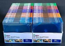 HP Color Empty Slim Jewel CD DVD Cases Lot of 100 Sealed New 5 Colors 2 50 Packs