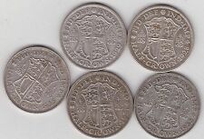 FIVE GEORGE V SILVER HALFCROWNS 1928/1929/1931/1933 & 1935 GOOD FINE CONDITION