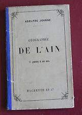 1882 Géographie de l'Ain Joanne 11 gravures 1 carte couleur Hachette