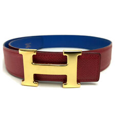 AUTHENTIC HERMES H Belt Red/blue Courchevel/Boxcalf