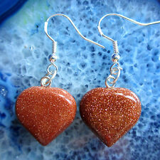Earrings Heart Goldstone Stone Brown Glitter with Hooks of the Silver 925