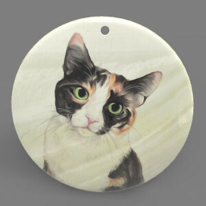 Mother of Pearl Shell Cat Kitten Color Printing Pendant Necklace J1705 0522