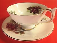 HARLEIGH ENGLAND CUP & SAUCER PEDESTAL PURPLE & WHITE ROSE W/GOLD TRIM VINTAGE