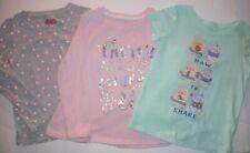 3 Girls Casual Shirts 4T Hearts Magic Sharing Teal Gray Pink Long Short Sleeves