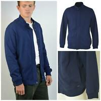 M&S Marks and Spencer Autograph Mens Navy Blue Thick Jersey Bomber Jacket