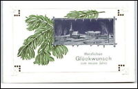 NEUJAHR ~1900 AK Jahreswechsel Prägekarte mit Zweigen u. Dorf-Motiv ungelaufen