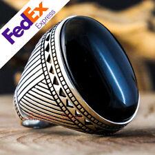 Onyx Stone 925 Sterling Silver TURKISH Handmade Big Men's Ring All Sizes