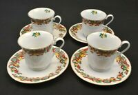 Home Accents Fine China set of 4 Cups & 4 Saucers Holiday Ribbon Christmas Gold