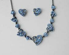 Vintage Heart Necklace/Choker and Earrings Set Sapphire Australia Crystal N1243