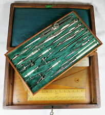 More details for mahogany box set of nickel silver drawing instruments super condition