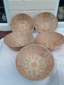 5 Wicker Woven Basket Bowl Rattan Round Display  Vintage