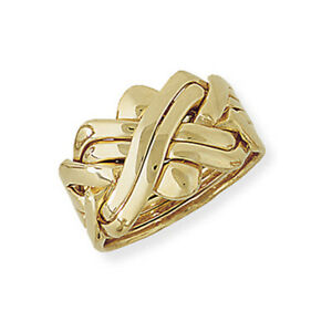 Jewelco London 9ct Yellow Gold - Six-Row Puzzle Ring