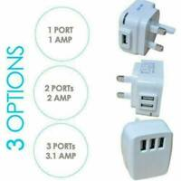 Mains 3 Pin UK Plug 3 AMP USB Adapter Wall Charger home Charging for Cell Phones
