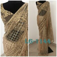 Indian New Desinger Boutique Party Wear Saree With Net Sequance Sari LG-1144