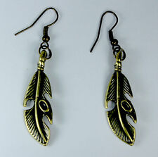 Feather Metal Banana Leaf Dangle EARRINGS Bronze Gold Brass Tone Fashion Jewelry
