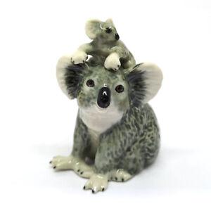 Ceramic Koala with Baby Figurine Porcelain Miniatures Collectible Animal