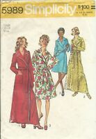 S 5989 sewing pattern 70's Wrap ROBE in 2 lengths Notched Collar sew size L16-18