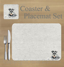 Schnauzer,  placemat and coaster set    by Jane Bannon