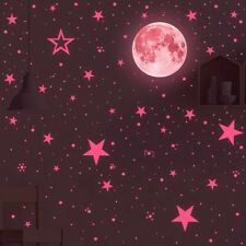 Luminous Pink Moon & Stars Wall Stickers Glow In The Dark Removable Decal Decor.