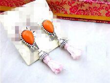 Rings`Ears Clip Clips Non Pierced Golden Drop Orange Pompom Pink Retro J7