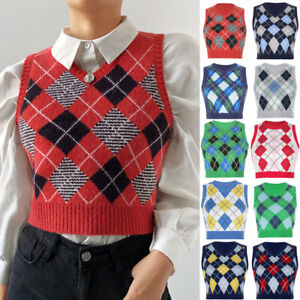 Womens Sweater Blouse Knitted Jumper Vest Basic Sweatshirt Ladies Cropped Tops