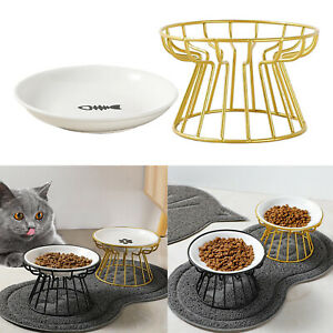 Ceramic Cat Dog Feeders Bowls Iron Stand Ceramic Pet Food Water Bowl for Cats