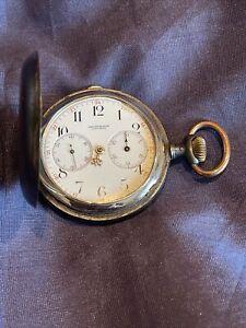 Longines Chronograph Taschenuhr Savonette Antik Herrengesicht Stahl Sprungdeckel
