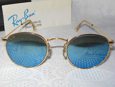 VINTAGE RAY BAN B&L SUNGLASSES GOLD ROUND BLUE MIRROR ARISTA AVIATORS USA 46mm