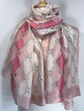 NEW Pink Silky Scarf Pashmina Chain Rope Silky Softest Feel Oversized Stunning
