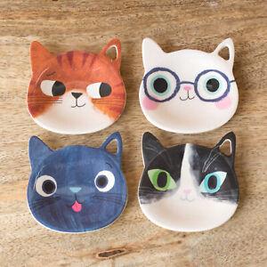 Melamine Plastic Cat Kitten Shaped Tea Bag Holder Storage Teabag Rest Tidy Spoon