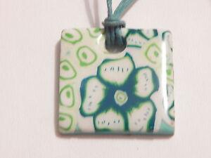 Handmade Flower Design Tile Pendant Necklace - Deceased Estate