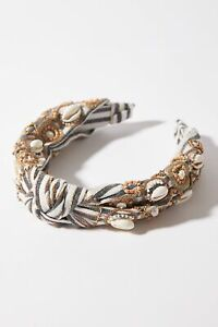 Anthropologie Coquille Embellished Headband Shells Beads Beach