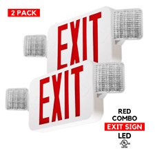 2 Pack, Red LED Exit Sign, Emergency Light, Square Head Combo Fixture - UL924