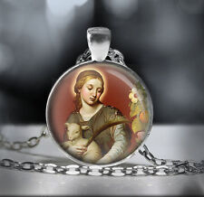 St Agnes Catholic Necklace - Christian Patron Saint Pendant. FREE Shipping