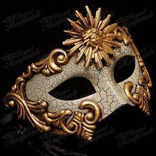Mens Greek Sun God Warrior Venetian Masquerade Ball Mask with Cracks [Gold]