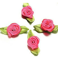 Ribbon Rose DIY Wedding Flower Satin Decor Bow Appliques Craft Sewing Leaves