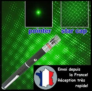 POINTEUR LASER VERT 2 EN 1 PUISSANT LAZER POINTER GREEN 1mW STYLO ETOILE STAR