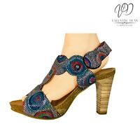 Penelope Collection Women's Sandals Marble Multicoloured Leather Size 4 Uk