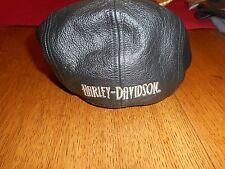 Men's Vintage Harley-Davidson B&S Black Leather Ivy Newsboy Cap Mint Small